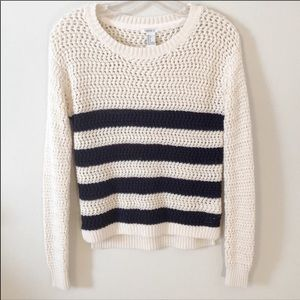 Forever 21 Lightweight Sweater Navy /Cream Small